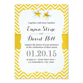 Classy Yellow Chevron Plumeria Wedding Card