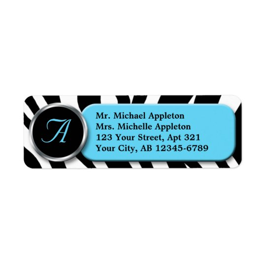 Classy Zebra Print Aqua Monogram Address Labels