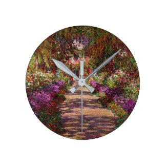 Claude Monet | A Pathway in Monet's Garden Round Clock