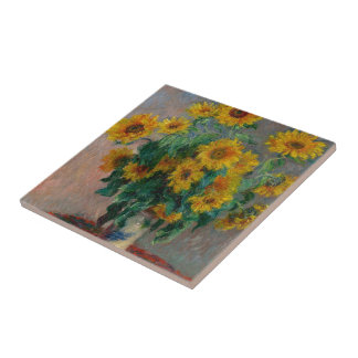 Claude Monet and Sunflower Tile