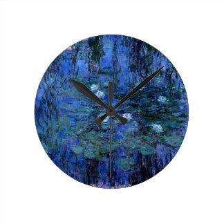 Claude Monet Blue Water Lilies Round Clock