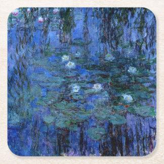 Claude Monet Blue Water Lilies Square Paper Coaster