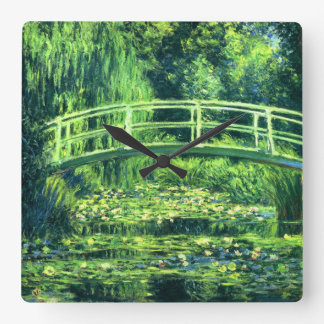 Claude Monet: Bridge Over a Pond of Water Lilies Square Wall Clock