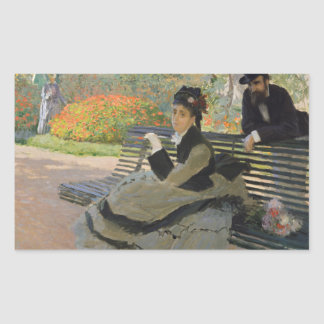 Claude Monet - Camille Monet on a Bench Rectangular Sticker