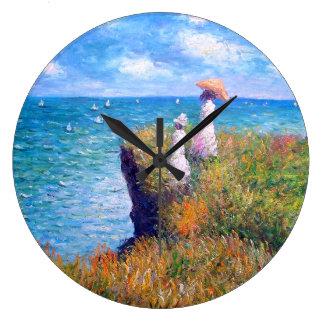 Claude Monet: Cliff Walk at Pourville Large Clock