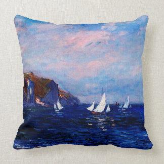 Claude Monet-Cliffs and Sailboats at Pourville Throw Pillow