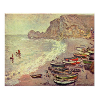 Claude Monet - etretat-beach and Porte dAmont Poster