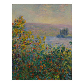 Claude Monet ~ Flower Beds At Vetheuil Poster