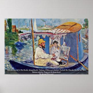 Claude Monet In His Studio (Argenteuil) Posters