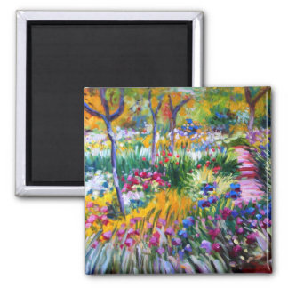 Claude Monet: Iris Garden by Giverny Square Magnet
