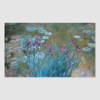 Claude Monet: Irises and Water Lilies Rectangular Stickers