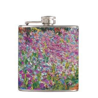 Claude Monet - Irises in Monet's Garden Fine Art Hip Flask