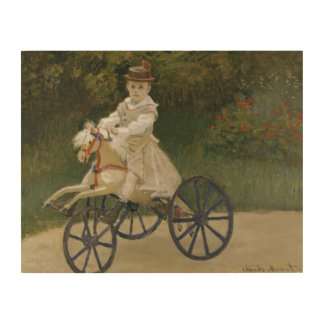 Claude Monet - Jean Monet on his Hobby Horse Wood Print