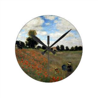 Claude Monet - Les Coquelicots Round Clock