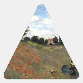 Claude Monet - Les Coquelicots Triangle Sticker