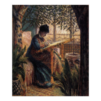 Claude Monet Madame Monet Embroidering Poster