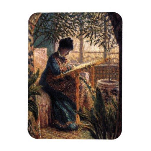 Claude Monet: Madame Monet Embroidering Flexible Magnets