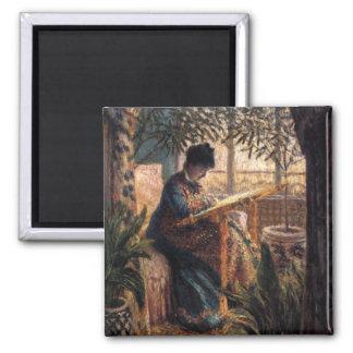 Claude Monet: Madame Monet Embroidering Square Magnet