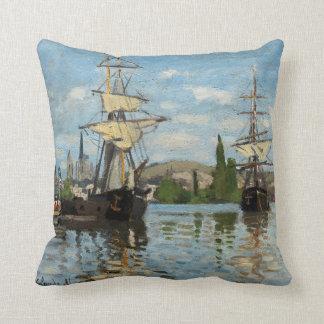 Claude Monet Nautical Ships Throw Pillow