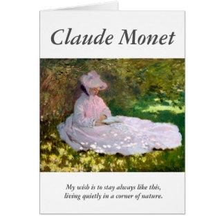 Claude Monet Reading Woman Springtime Artist Quote Card