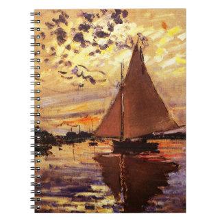 Claude Monet-Sailboat at Le Petit-Gennevilliers Spiral Note Book