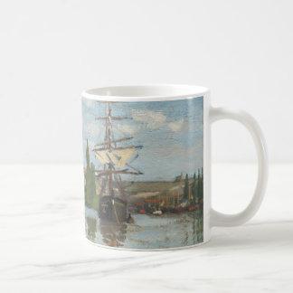 Claude Monet Ships Riding on the Seine at Rouen Coffee Mug