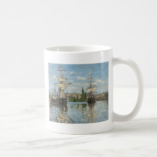 Claude Monet Ships Riding on the Seine at Rouen Coffee Mug