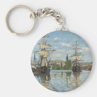 Claude Monet Ships Riding on the Seine at Rouen Key Ring