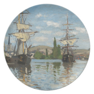 Claude Monet Ships Riding on the Seine at Rouen Plate