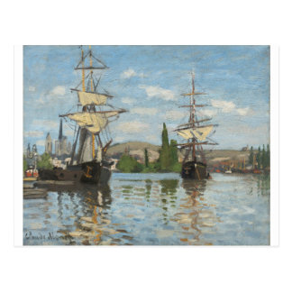 Claude Monet Ships Riding on the Seine at Rouen Postcard