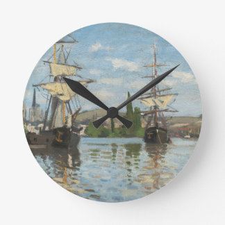Claude Monet Ships Riding on the Seine at Rouen Round Clock