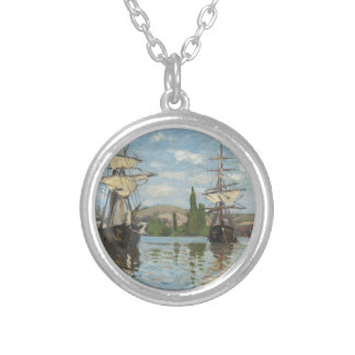 Claude Monet Ships Riding on the Seine at Rouen Silver Plated Necklace