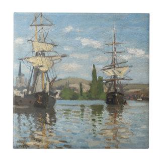 Claude Monet Ships Riding on the Seine at Rouen Tile