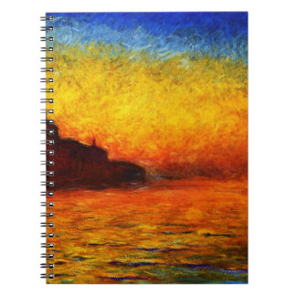 Claude Monet-Sunset in Venice Spiral Notebooks