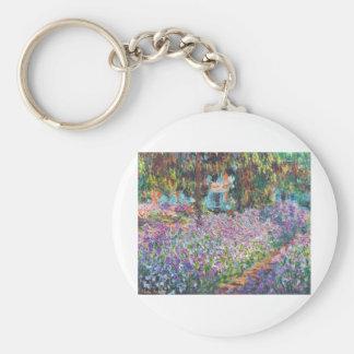 Claude Monet - The Artist's Garden at Givern Basic Round Button Key Ring
