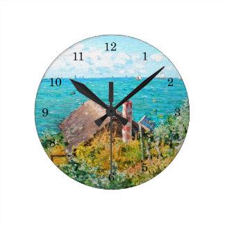 Claude Monet The Cabin At Saint-Adresse Fine Art Round Clock