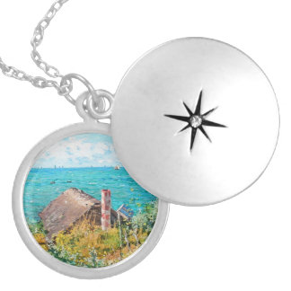 Claude Monet The Cabin At Saint-Adresse Fine Art Silver Plated Necklace