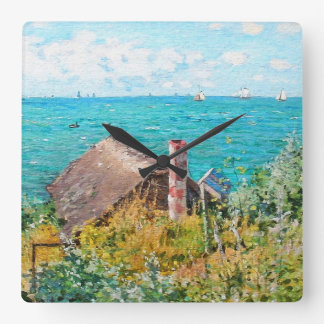 Claude Monet The Cabin At Saint-Adresse Fine Art Square Wall Clock