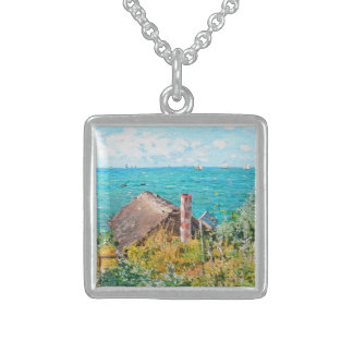 Claude Monet The Cabin At Saint-Adresse Fine Art Sterling Silver Necklace