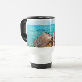 Claude Monet The Cabin At Saint-Adresse Fine Art Travel Mug