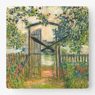 Claude Monet: The Garden Gate at Vetheuil Square Wall Clock