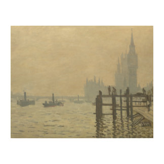 Claude Monet - The Thames at Westminster Wood Wall Art