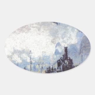 Claude Monet Train Station Popular Vintage Art Oval Sticker