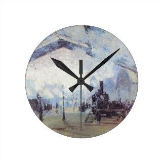 Claude Monet Train Station Popular Vintage Art Round Clock