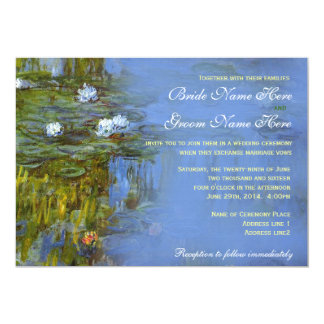 Claude Monet vintage waterlily wedding Card
