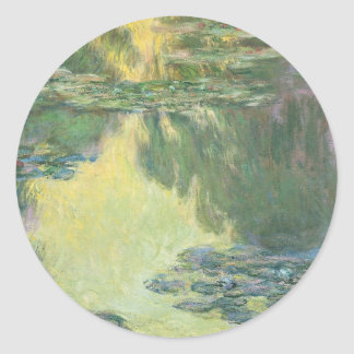 Claude Monet Water Lilies French Impressionism Round Stickers