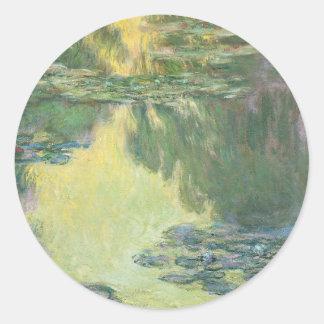 Claude Monet Water Lilies French  Impressionism Round Sticker