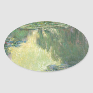 Claude Monet Water Lily Painting Impressionist Art Oval Sticker