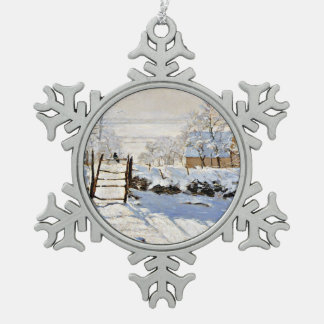 Claude Monet's painting, The Magpie Snowflake Pewter Christmas Ornament