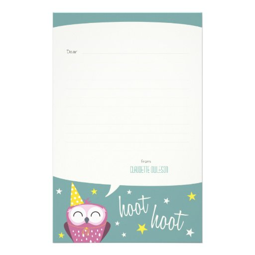 Claudette the Party Owl | Lined Note Paper Personalized Stationery